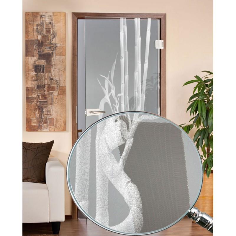 Glastüren - Ganzglastür Bambus gelasert